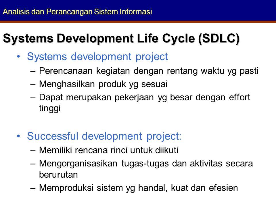 Analisis dan Perancangan Sistem Informasi Systems Development Life Cycle (SDLC) Systems development project –Perencanaan kegiatan dengan rentang waktu