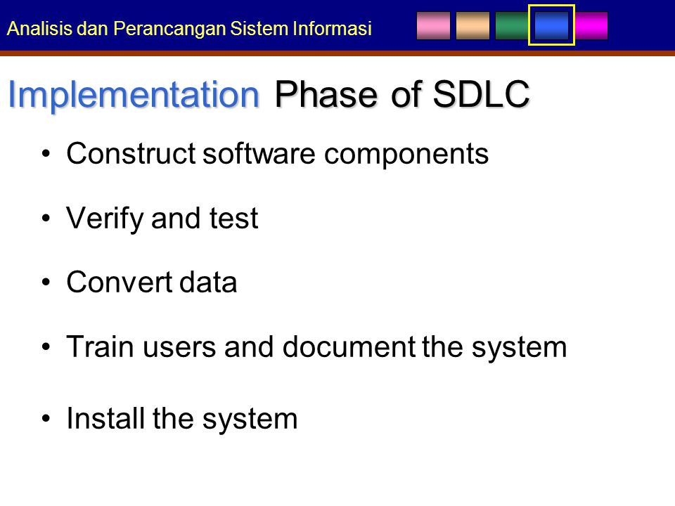 Analisis dan Perancangan Sistem Informasi Implementation Phase of SDLC Construct software components Verify and test Convert data Train users and document the system Install the system