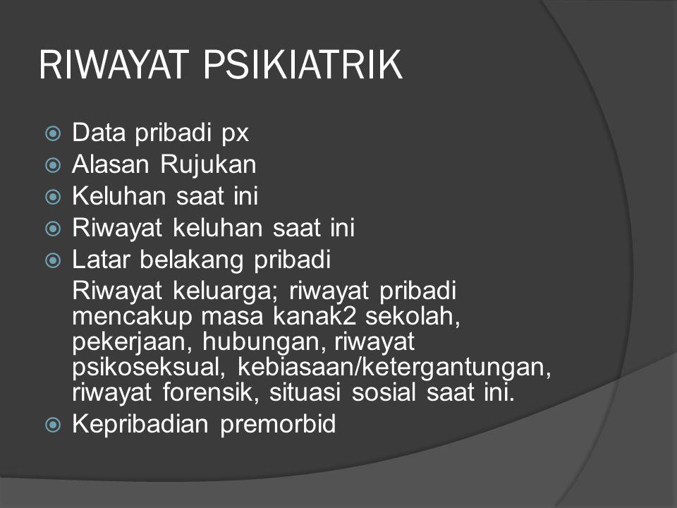 RIWAYAT PSIKIATRIK  Data pribadi px  Alasan Rujukan  Keluhan saat ini  Riwayat keluhan saat ini  Latar belakang pribadi Riwayat keluarga; riwayat