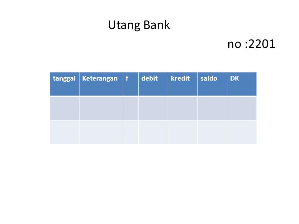 Utang Bank no :2201 tanggalKeteranganfdebitkreditsaldoDK