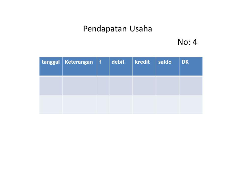 Pendapatan Usaha No: 4 tanggalKeteranganfdebitkreditsaldoDK