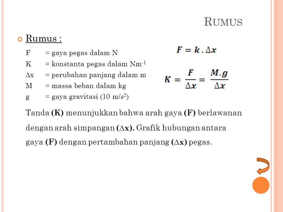 R UMUS Rumus : F = gaya pegas dalam N K = konstanta pegas dalam Nm -1 ∆x = perubahan panjang dalam m M= massa beban dalam kg g= gaya gravitasi (10 m/ s 2 ) Tanda (K) menunjukkan bahwa arah gaya (F) berlawanan dengan arah simpangan (∆x).