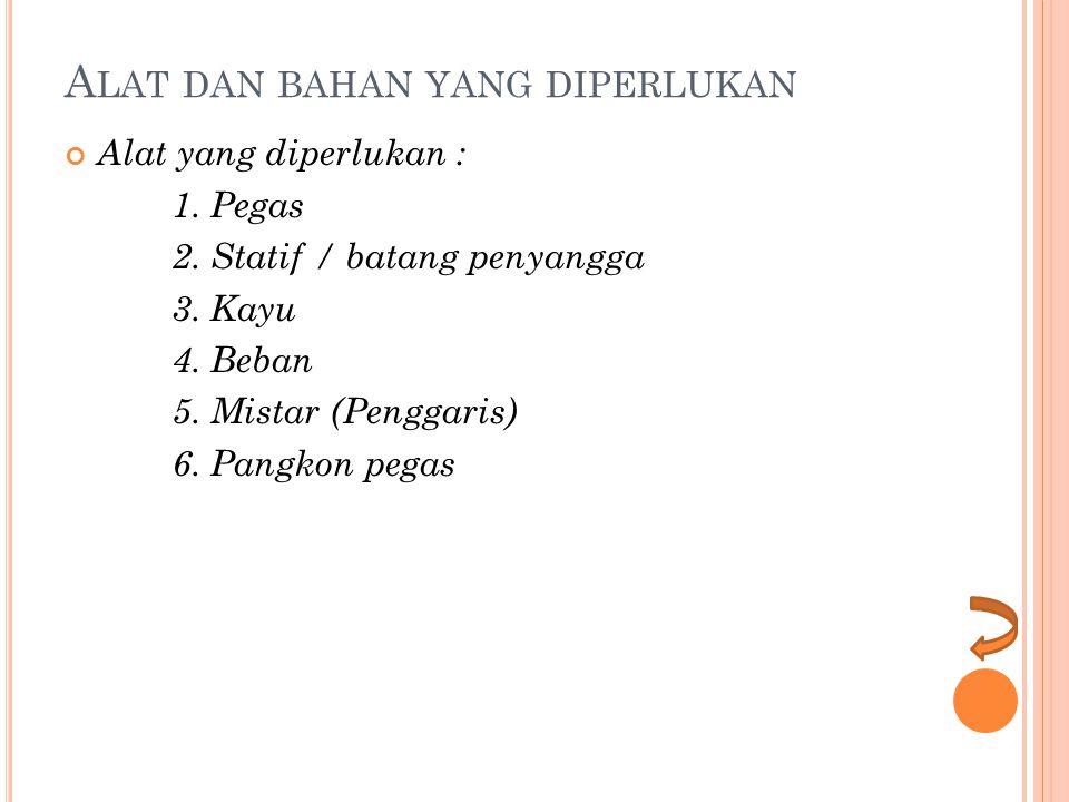 A LAT DAN BAHAN YANG DIPERLUKAN Alat yang diperlukan : 1. Pegas 2. Statif / batang penyangga 3. Kayu 4. Beban 5. Mistar (Penggaris) 6. Pangkon pegas