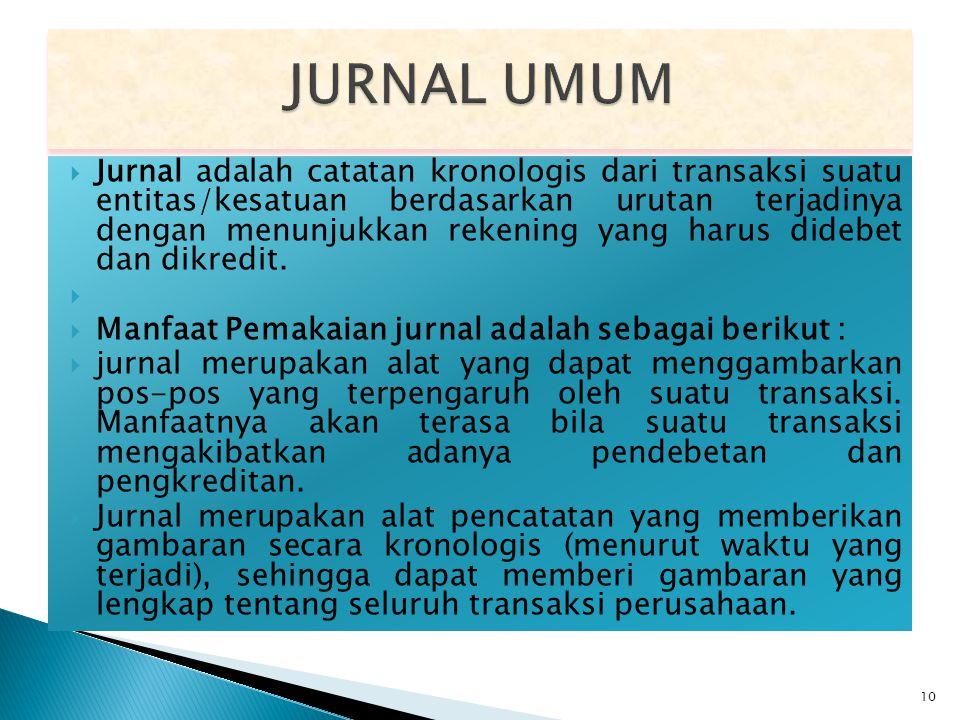  Jurnal adalah catatan kronologis dari transaksi suatu entitas/kesatuan berdasarkan urutan terjadinya dengan menunjukkan rekening yang harus didebet