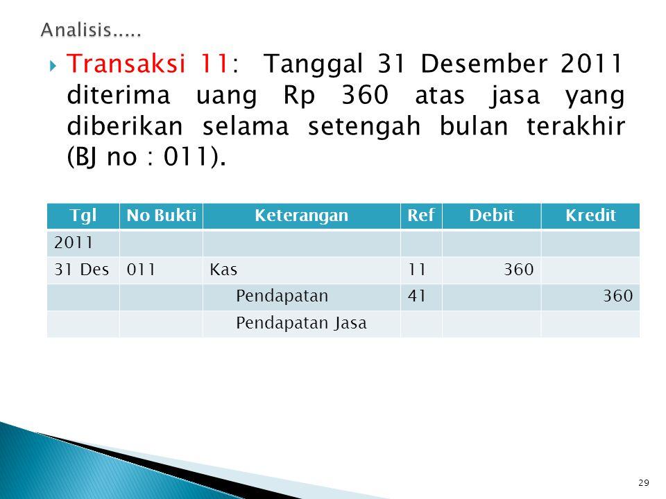  Transaksi 11: Tanggal 31 Desember 2011 diterima uang Rp 360 atas jasa yang diberikan selama setengah bulan terakhir (BJ no : 011). 29 TglNo BuktiKet