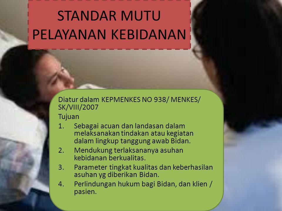 STANDAR MUTU PELAYANAN KEBIDANAN Diatur dalam KEPMENKES NO 938/ MENKES/ SK/VIII/2007 Tujuan 1.Sebagai acuan dan landasan dalam melaksanakan tindakan a