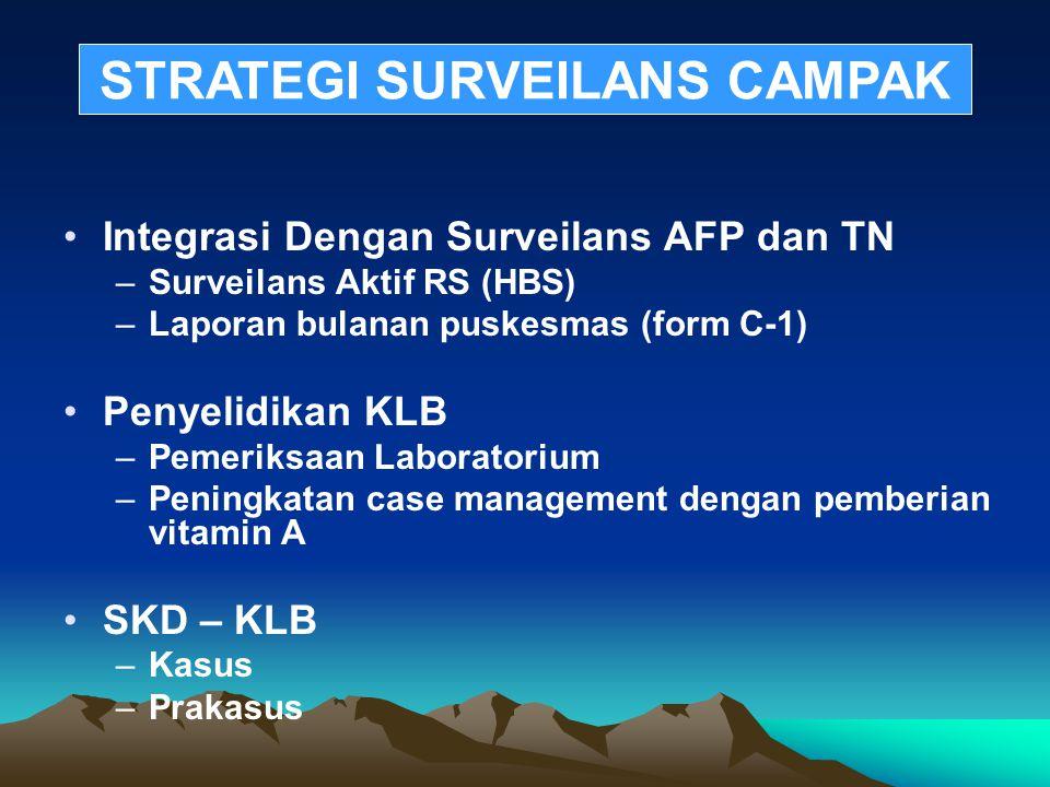 Integrasi Dengan Surveilans AFP dan TN –Surveilans Aktif RS (HBS) –Laporan bulanan puskesmas (form C-1) Penyelidikan KLB –Pemeriksaan Laboratorium –Pe