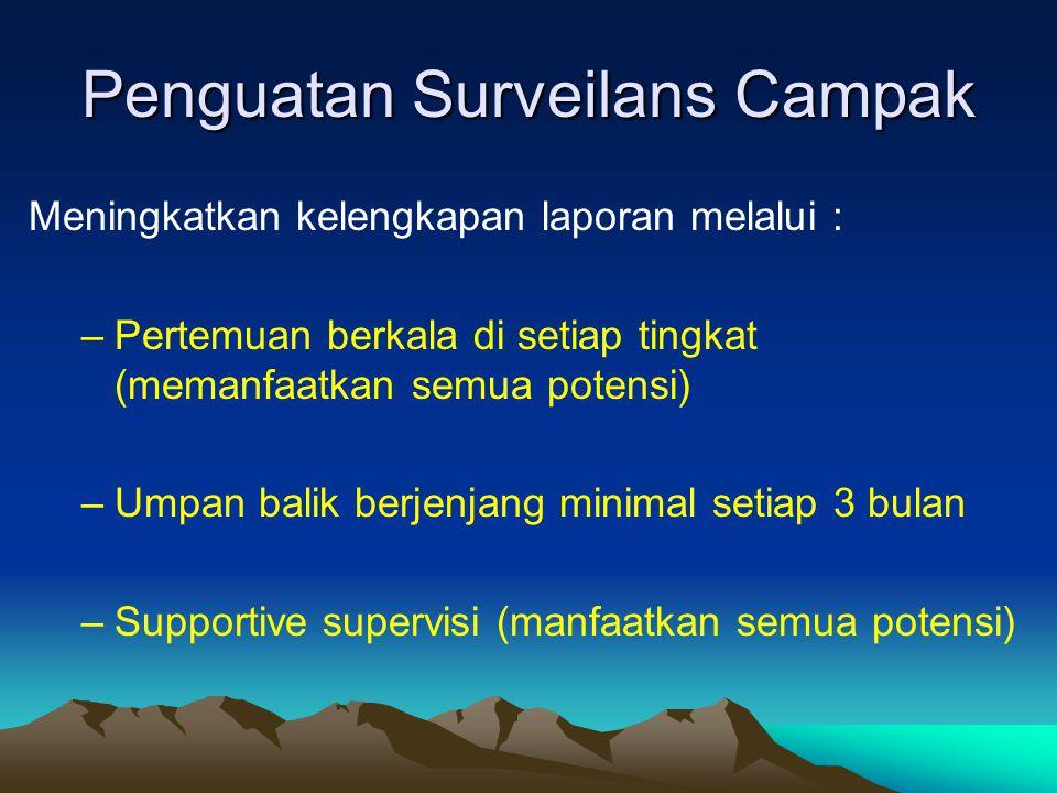 Penguatan Surveilans Campak Meningkatkan kelengkapan laporan melalui : –Pertemuan berkala di setiap tingkat (memanfaatkan semua potensi) –Umpan balik