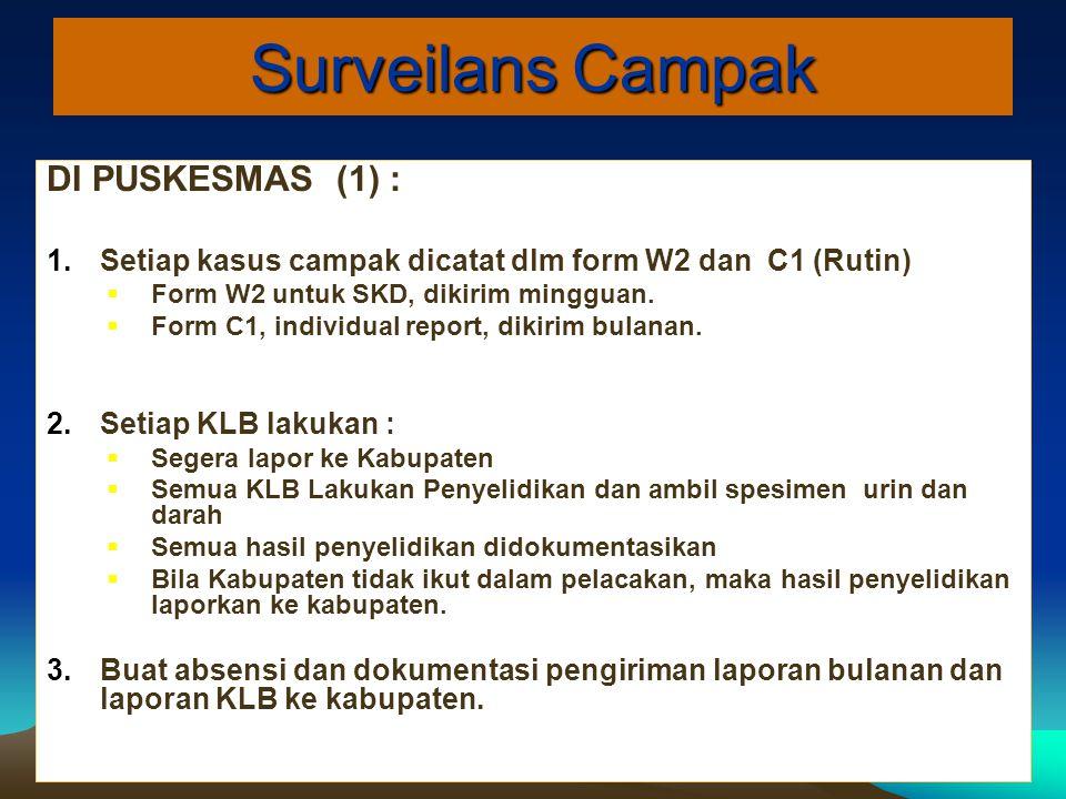 Surveilans Campak DI PUSKESMAS (1) : 1.Setiap kasus campak dicatat dlm form W2 dan C1 (Rutin)  Form W2 untuk SKD, dikirim mingguan.  Form C1, indivi