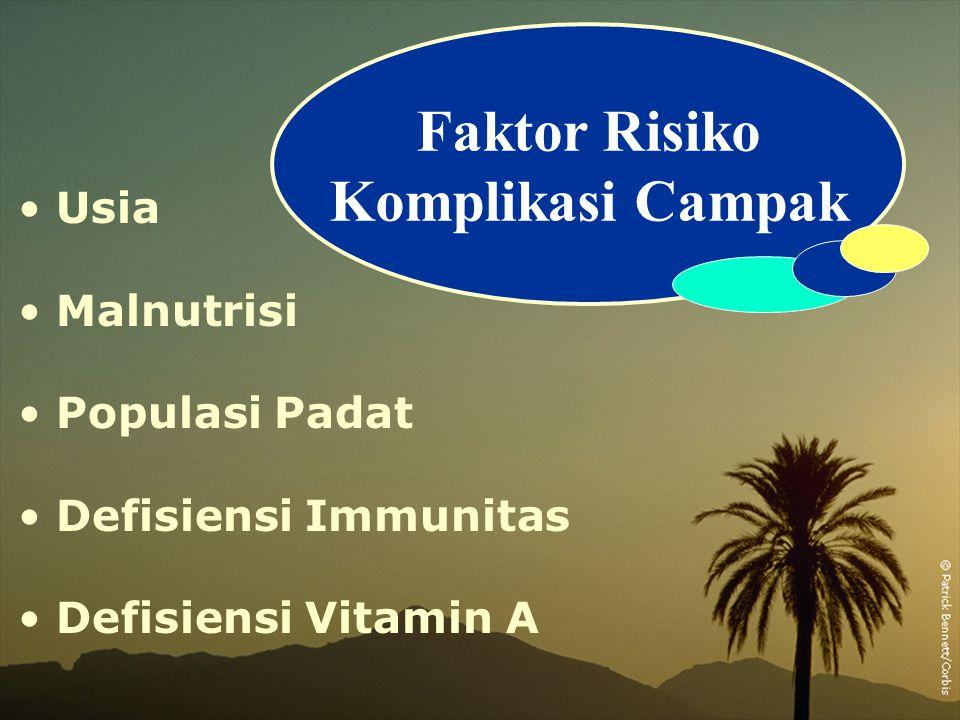 Usia Malnutrisi Populasi Padat Defisiensi Immunitas Defisiensi Vitamin A Faktor Risiko Komplikasi Campak