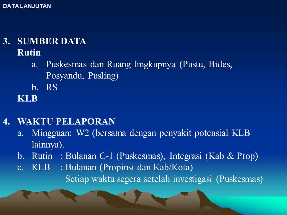 DATA LANJUTAN 3.SUMBER DATA Rutin a.Puskesmas dan Ruang lingkupnya (Pustu, Bides, Posyandu, Pusling) b.RS KLB 4.WAKTU PELAPORAN a.Mingguan: W2 (bersam