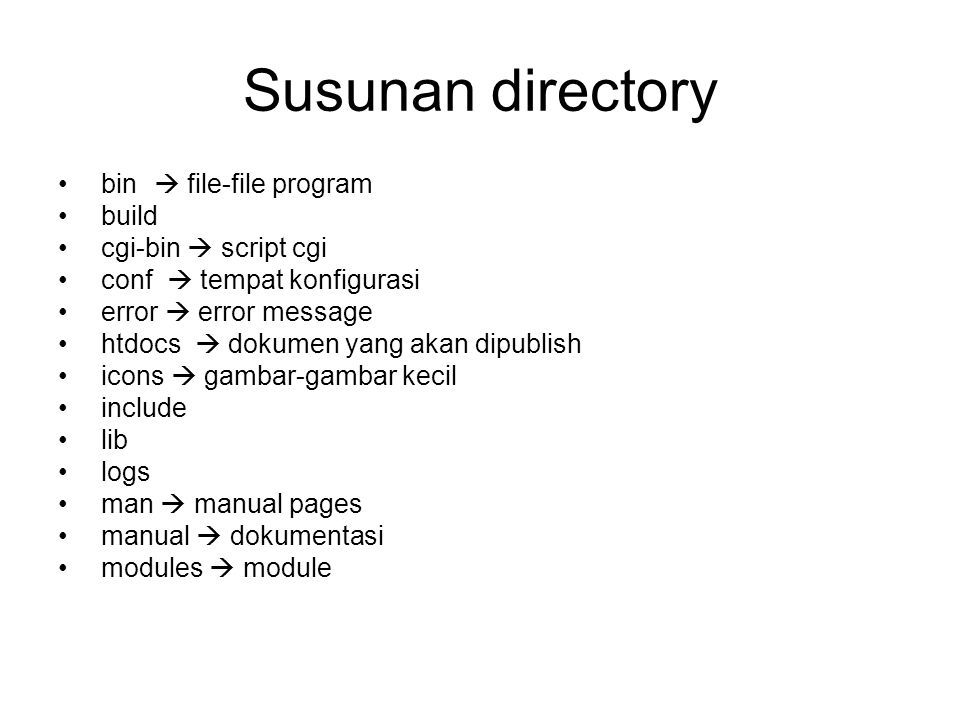 Susunan directory bin  file-file program build cgi-bin  script cgi conf  tempat konfigurasi error  error message htdocs  dokumen yang akan dipublish icons  gambar-gambar kecil include lib logs man  manual pages manual  dokumentasi modules  module