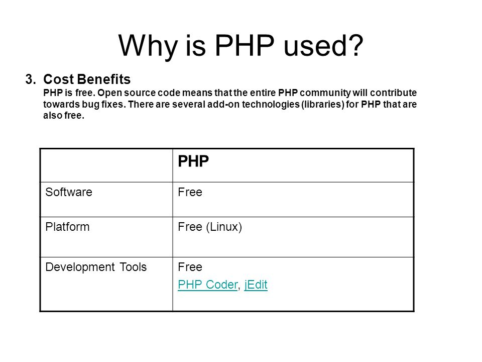 Why is PHP used? 3.Cost Benefits PHP is free. Open source code means that the entire PHP community will contribute towards bug fixes. There are severa