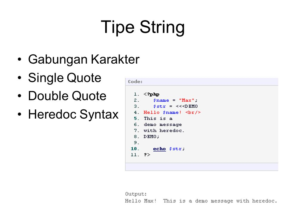 Tipe String Gabungan Karakter Single Quote Double Quote Heredoc Syntax