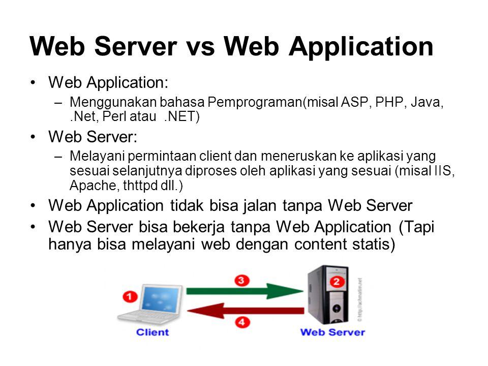 Web Server vs Web Application Web Application: –Menggunakan bahasa Pemprograman(misal ASP, PHP, Java,.Net, Perl atau.NET) Web Server: –Melayani permin