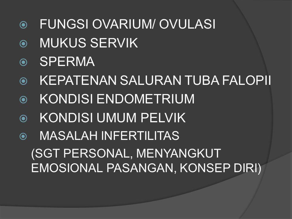  FUNGSI OVARIUM/ OVULASI  MUKUS SERVIK  SPERMA  KEPATENAN SALURAN TUBA FALOPII  KONDISI ENDOMETRIUM  KONDISI UMUM PELVIK  MASALAH INFERTILITAS