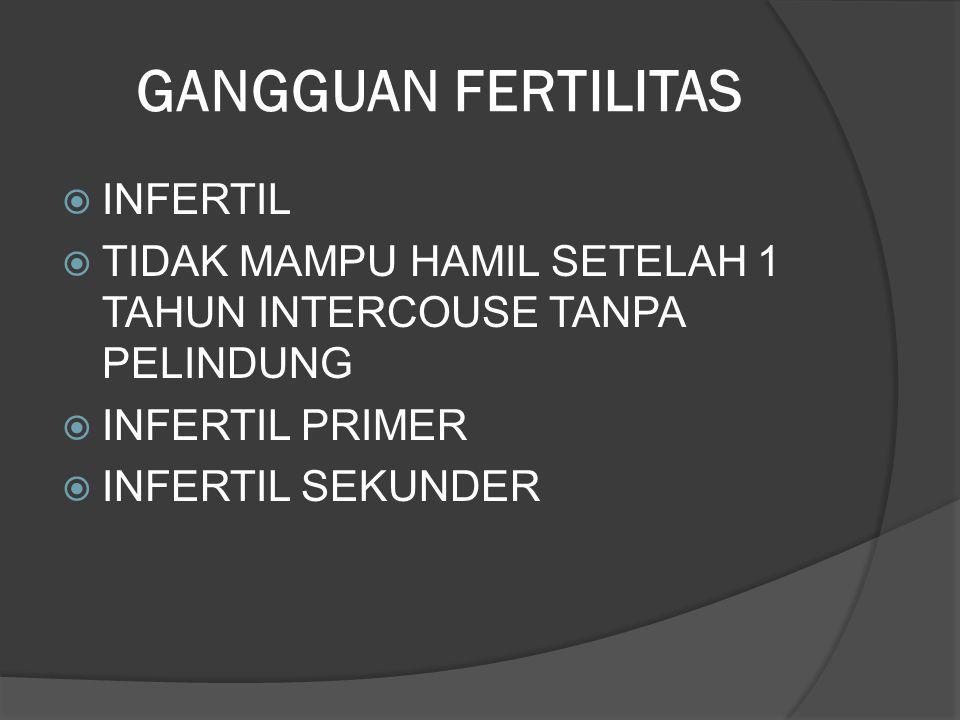 FAKTOR YG MEMPENGARUHI  ANOVULASI 5-25%  TUBA FALOPII 15-25%  SERVIK / IMUNOLOGIK 5-10%  INFERTILITAS PRIA 30-40%  LAINNYA 10-25%