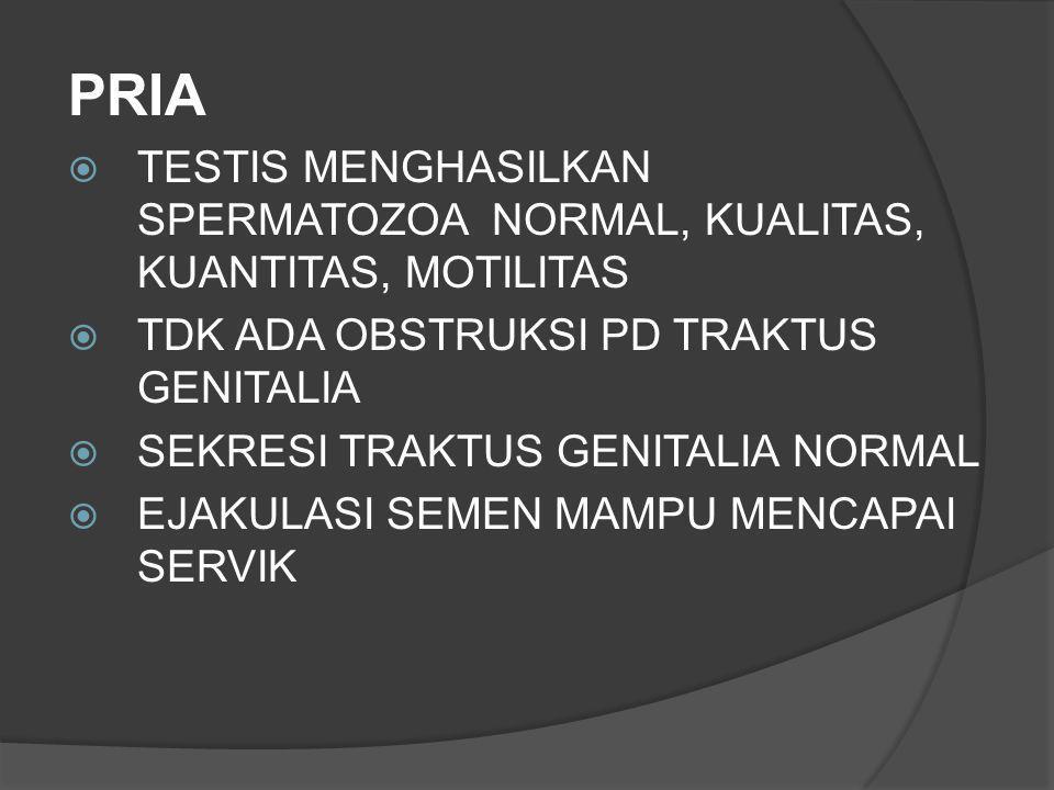 PRIA  TESTIS MENGHASILKAN SPERMATOZOA NORMAL, KUALITAS, KUANTITAS, MOTILITAS  TDK ADA OBSTRUKSI PD TRAKTUS GENITALIA  SEKRESI TRAKTUS GENITALIA NOR