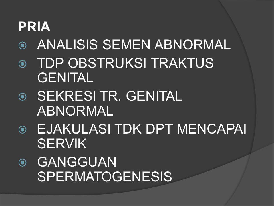 PRIA  ANALISIS SEMEN ABNORMAL  TDP OBSTRUKSI TRAKTUS GENITAL  SEKRESI TR. GENITAL ABNORMAL  EJAKULASI TDK DPT MENCAPAI SERVIK  GANGGUAN SPERMATOG