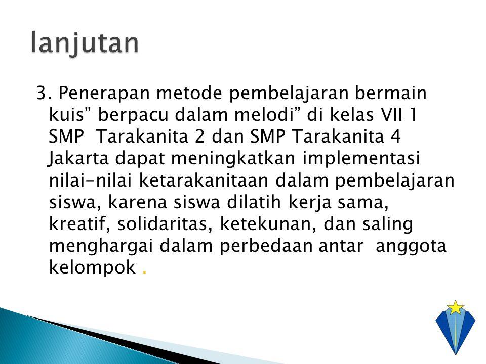 """3. Penerapan metode pembelajaran bermain kuis"""" berpacu dalam melodi"""" di kelas VII 1 SMP Tarakanita 2 dan SMP Tarakanita 4 Jakarta dapat meningkatkan i"""