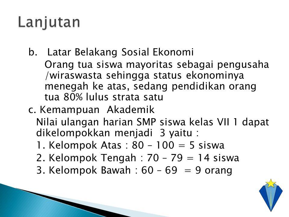 b. Latar Belakang Sosial Ekonomi Orang tua siswa mayoritas sebagai pengusaha /wiraswasta sehingga status ekonominya menegah ke atas, sedang pendidikan