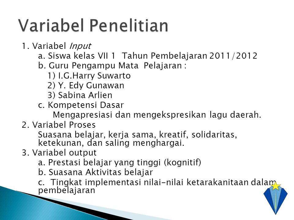 1. Variabel Input a. Siswa kelas VII 1 Tahun Pembelajaran 2011/2012 b. Guru Pengampu Mata Pelajaran : 1) I.G.Harry Suwarto 2) Y. Edy Gunawan 3) Sabina