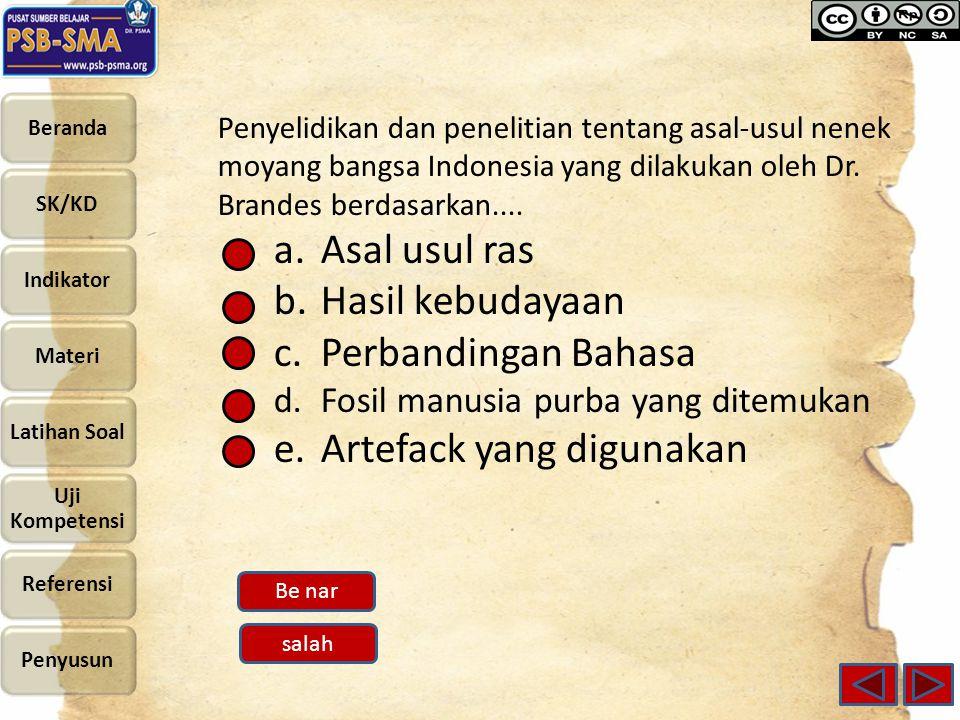 Penyelidikan dan penelitian tentang asal-usul nenek moyang bangsa Indonesia yang dilakukan oleh Dr. Brandes berdasarkan.... a.Asal usul ras b.Hasil ke