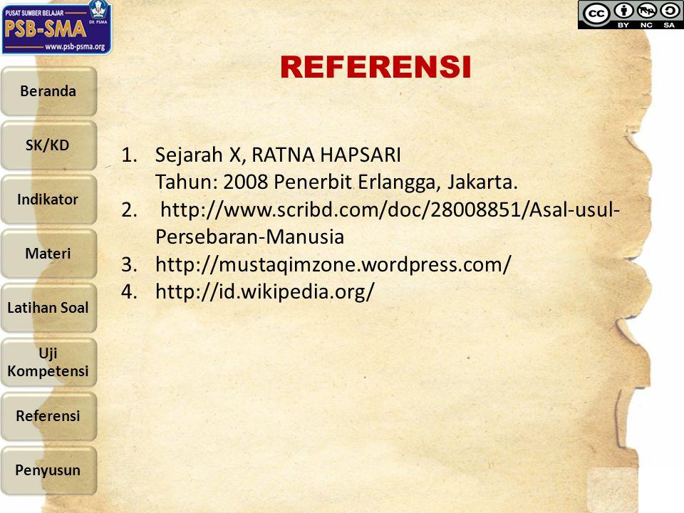 REFERENSI 1.Sejarah X, RATNA HAPSARI Tahun: 2008 Penerbit Erlangga, Jakarta. 2. http://www.scribd.com/doc/28008851/Asal-usul- Persebaran-Manusia 3.htt