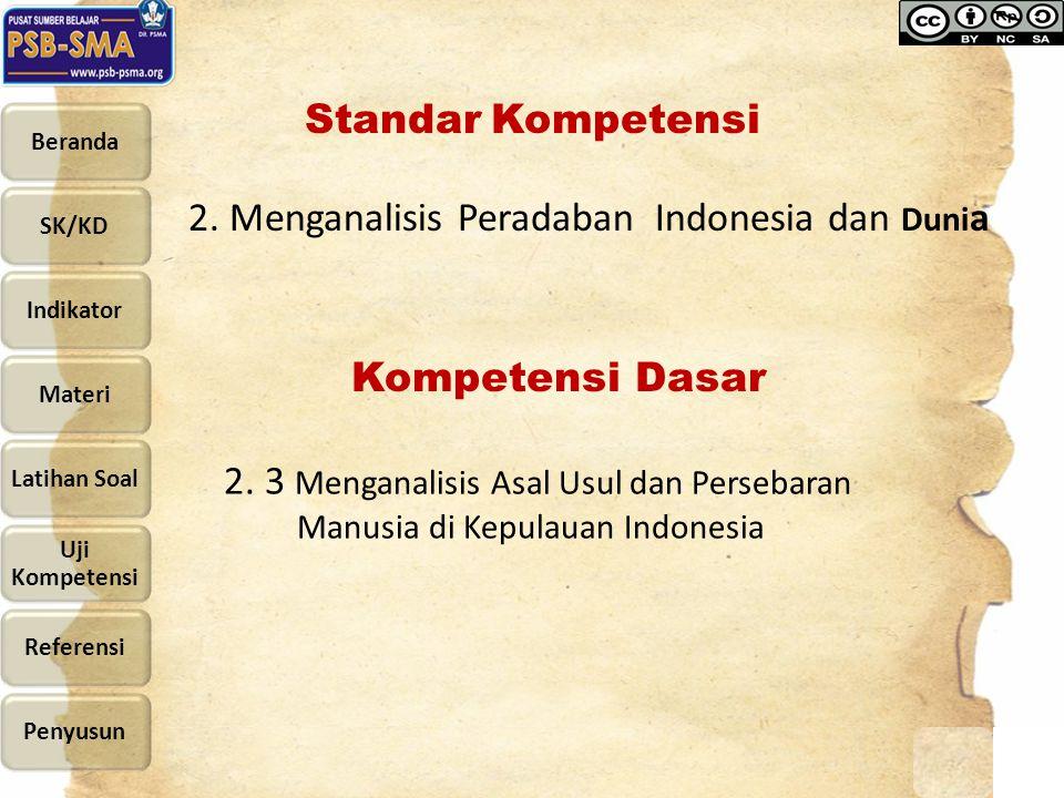 Standar Kompetensi 2. Menganalisis Peradaban Indonesia dan Duni a Kompetensi Dasar 2. 3 Menganalisis Asal Usul dan Persebaran Manusia di Kepulauan Ind