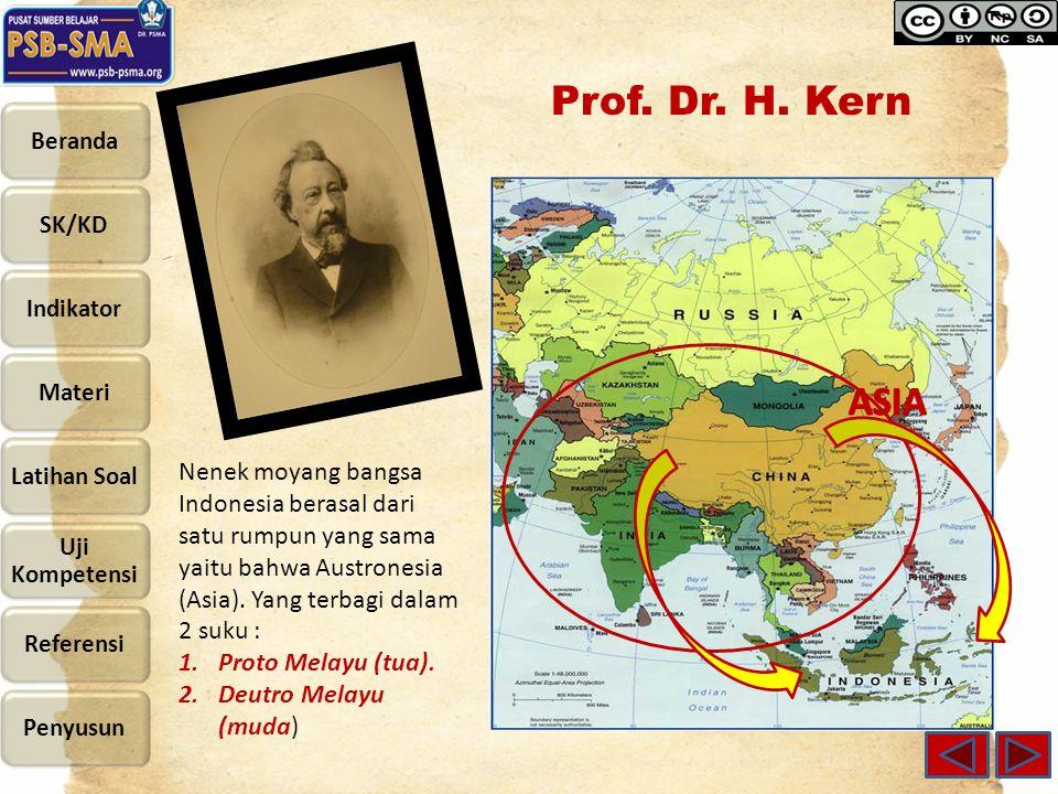 Prof. Dr. H. Kern Nenek moyang bangsa Indonesia berasal dari satu rumpun yang sama yaitu bahwa Austronesia (Asia). Yang terbagi dalam 2 suku : 1.Proto