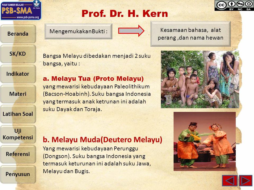 Kesamaan bahasa, alat perang,dan nama hewan MengemukakanBukti : Bangsa Melayu dibedakan menjadi 2 suku bangsa, yaitu : a.