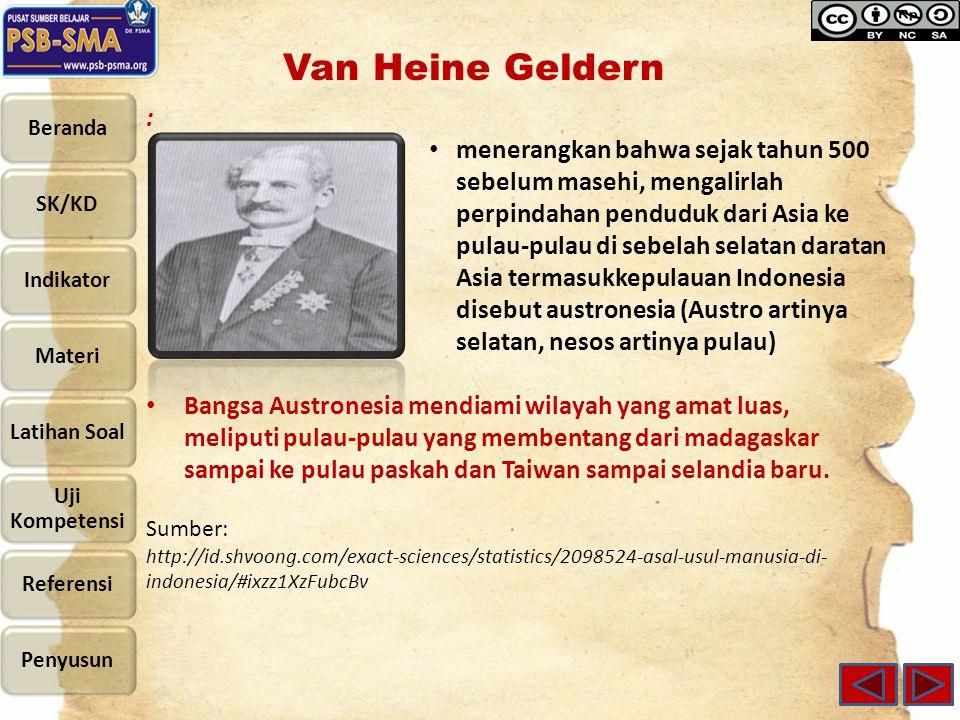 Van Heine Geldern : menerangkan bahwa sejak tahun 500 sebelum masehi, mengalirlah perpindahan penduduk dari Asia ke pulau-pulau di sebelah selatan dar