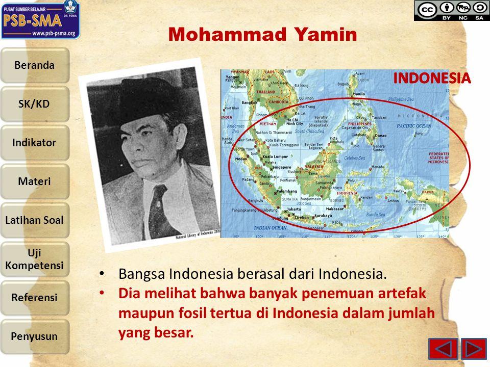 Mohammad Yamin Bangsa Indonesia berasal dari Indonesia. Dia melihat bahwa banyak penemuan artefak maupun fosil tertua di Indonesia dalam jumlah yang b