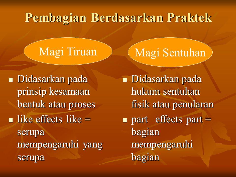 Pembagian Berdasarkan Praktek Didasarkan pada prinsip kesamaan bentuk atau proses Didasarkan pada prinsip kesamaan bentuk atau proses like effects lik