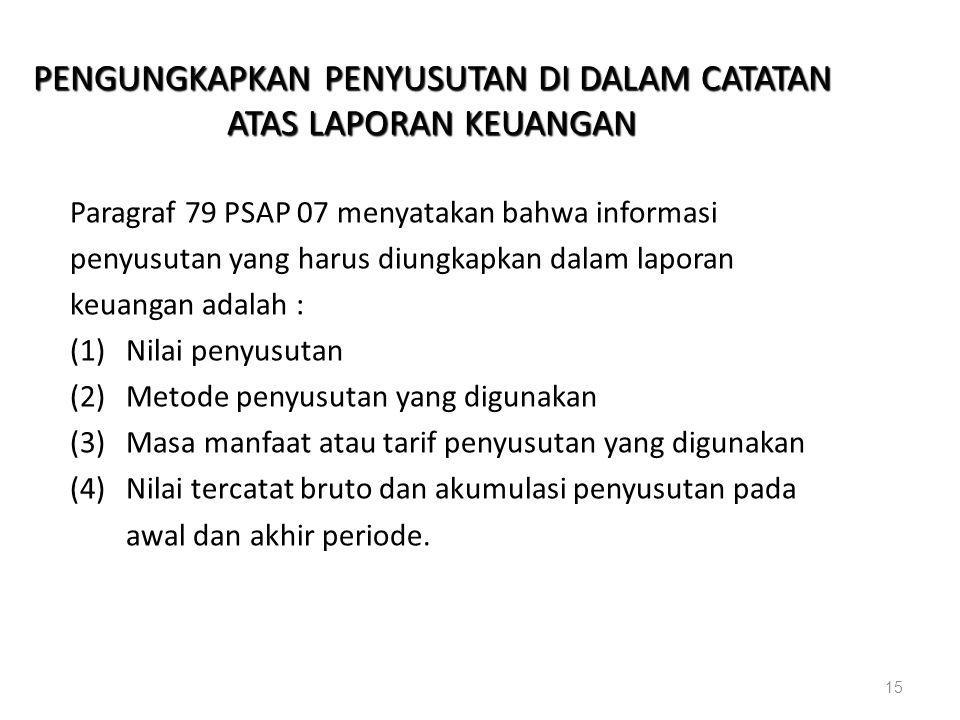 PENGUNGKAPKAN PENYUSUTAN DI DALAM CATATAN ATAS LAPORAN KEUANGAN Paragraf 79 PSAP 07 menyatakan bahwa informasi penyusutan yang harus diungkapkan dalam