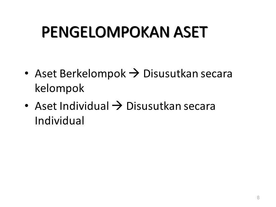PENGELOMPOKAN ASET Aset Berkelompok  Disusutkan secara kelompok Aset Individual  Disusutkan secara Individual 8