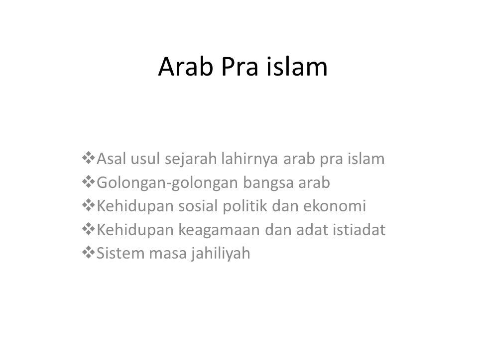 Arab Pra islam  Asal usul sejarah lahirnya arab pra islam  Golongan-golongan bangsa arab  Kehidupan sosial politik dan ekonomi  Kehidupan keagamaa