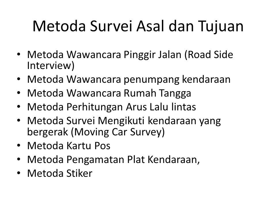 Metoda Survei Asal dan Tujuan Metoda Wawancara Pinggir Jalan (Road Side Interview) Metoda Wawancara penumpang kendaraan Metoda Wawancara Rumah Tangga