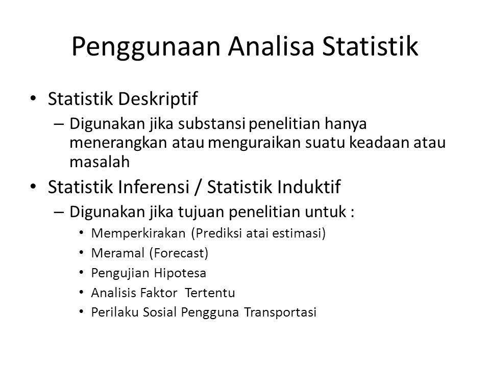 Penggunaan Analisa Statistik Statistik Deskriptif – Digunakan jika substansi penelitian hanya menerangkan atau menguraikan suatu keadaan atau masalah