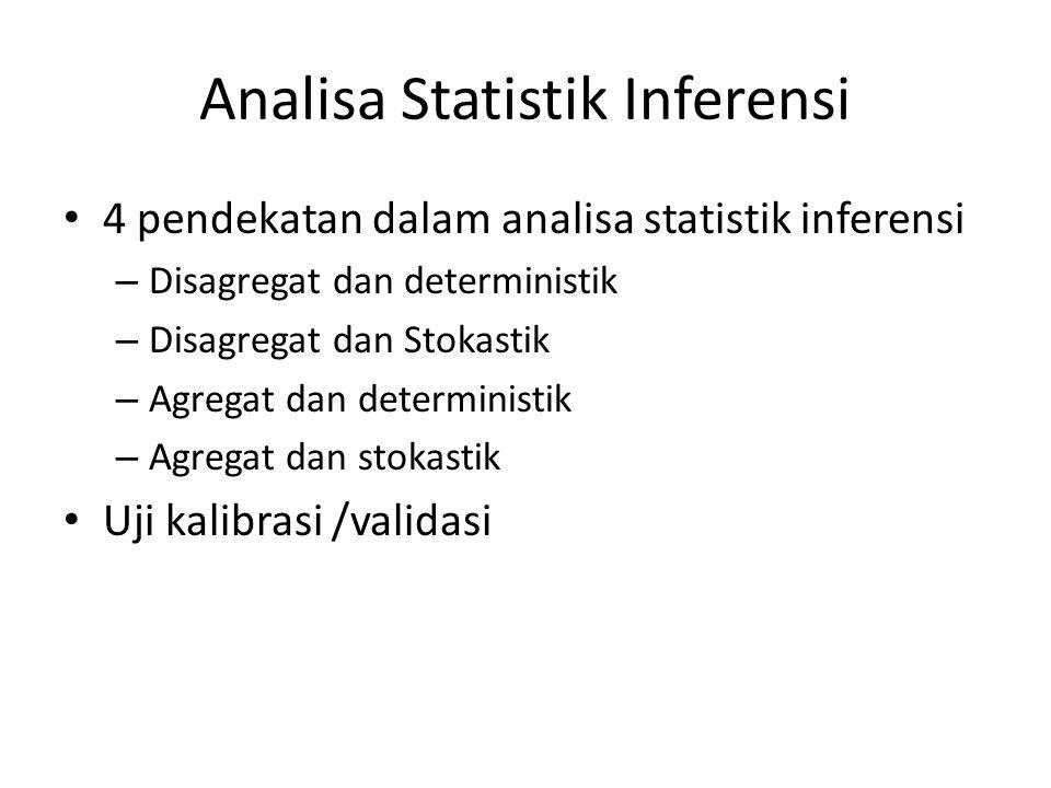Analisa Statistik Inferensi 4 pendekatan dalam analisa statistik inferensi – Disagregat dan deterministik – Disagregat dan Stokastik – Agregat dan det