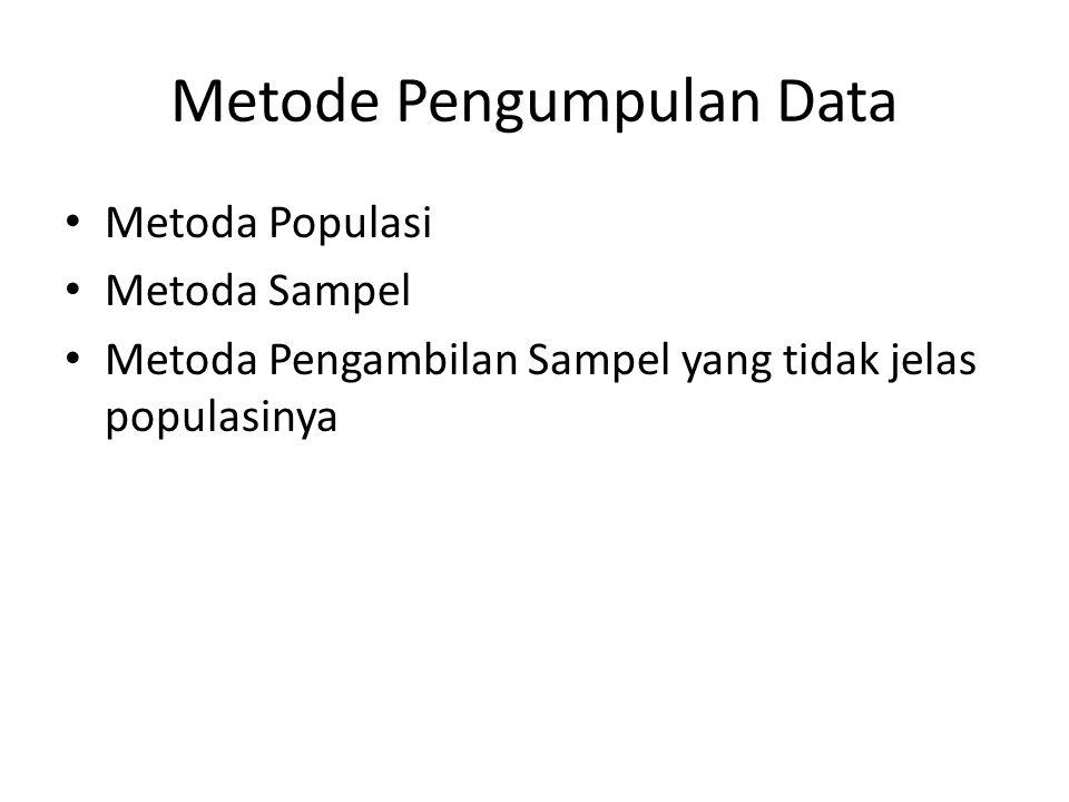 Metode Pengumpulan Data Metoda Populasi Metoda Sampel Metoda Pengambilan Sampel yang tidak jelas populasinya