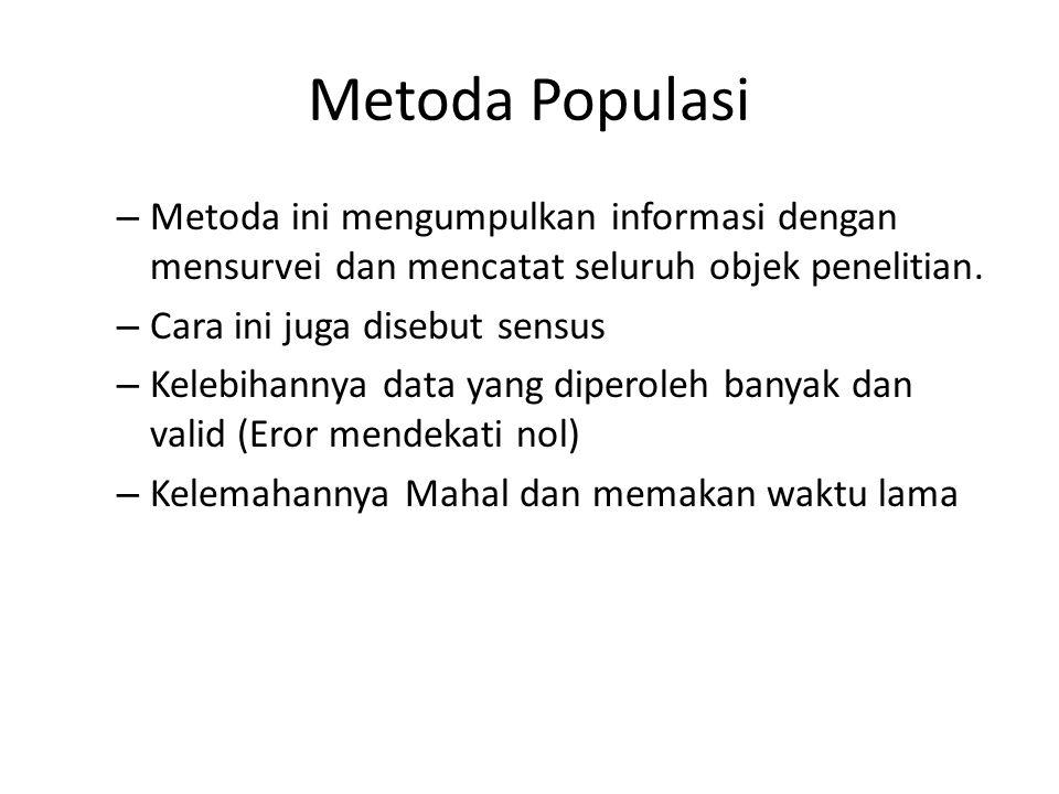 Metoda Populasi – Metoda ini mengumpulkan informasi dengan mensurvei dan mencatat seluruh objek penelitian. – Cara ini juga disebut sensus – Kelebihan