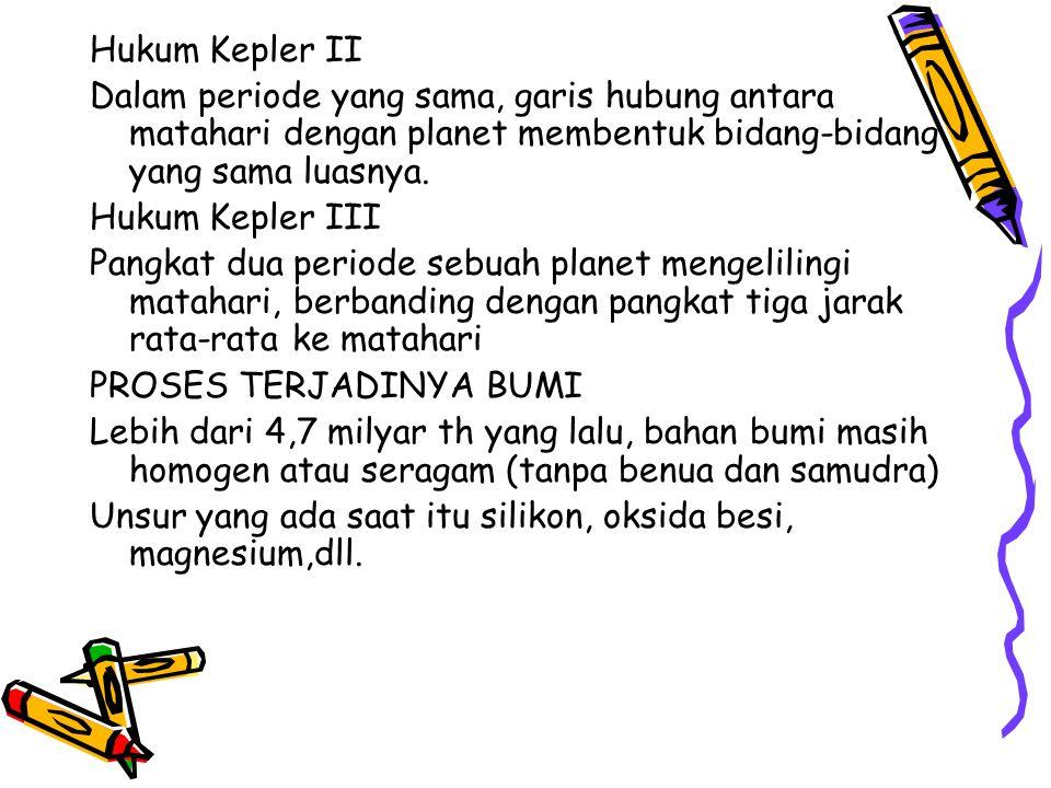 Hukum Kepler II Dalam periode yang sama, garis hubung antara matahari dengan planet membentuk bidang-bidang yang sama luasnya. Hukum Kepler III Pangka