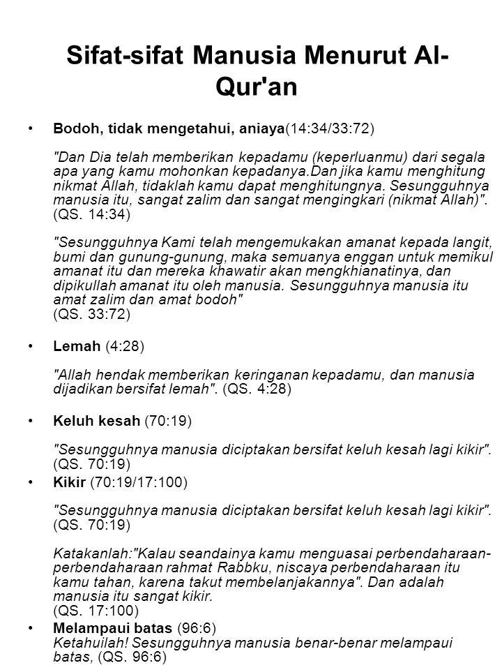Sifat-sifat Manusia Menurut Al- Qur'an Bodoh, tidak mengetahui, aniaya(14:34/33:72)