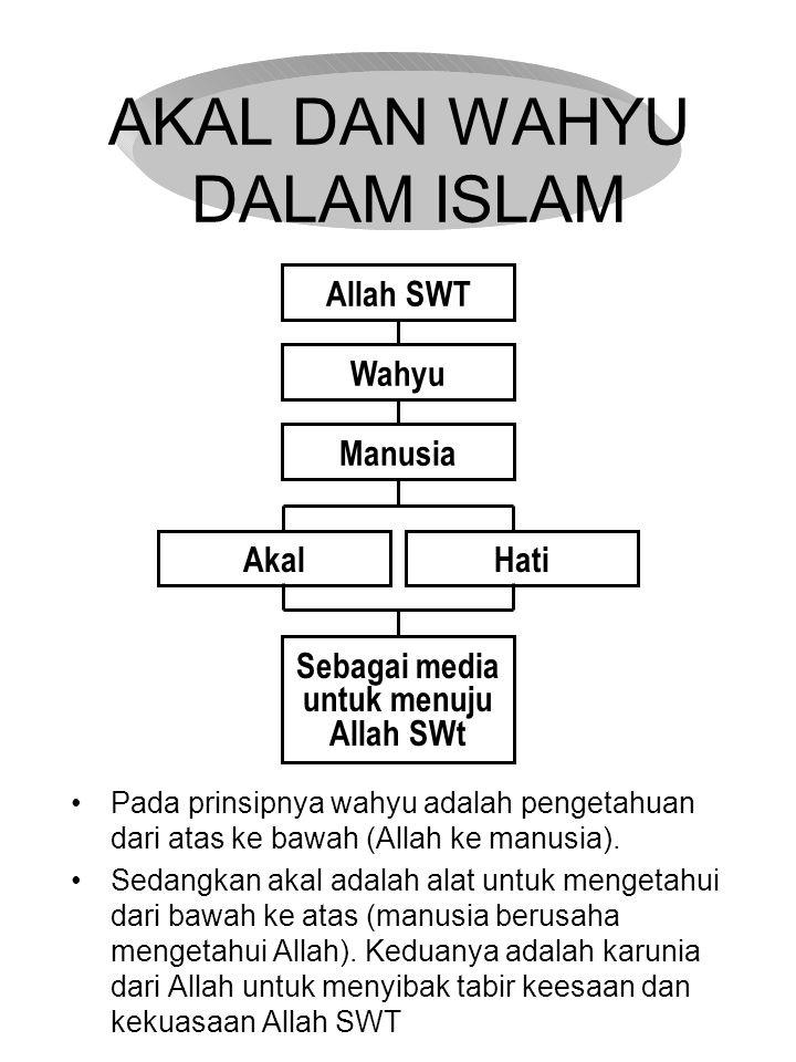 AKAL DAN WAHYU DALAM ISLAM Pada prinsipnya wahyu adalah pengetahuan dari atas ke bawah (Allah ke manusia). Sedangkan akal adalah alat untuk mengetahui