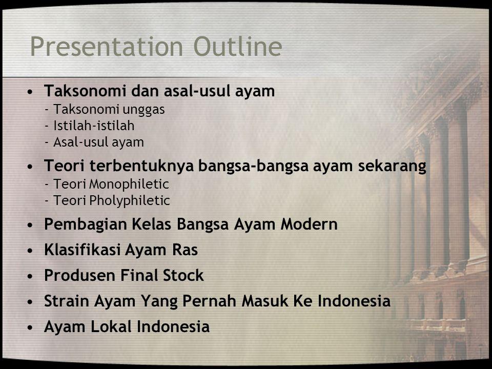Presentation Outline Taksonomi dan asal-usul ayam - Taksonomi unggas - Istilah-istilah - Asal-usul ayam Teori terbentuknya bangsa-bangsa ayam sekarang