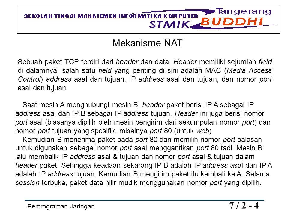 Pemrograman Jaringan 7 / 2 - 4 Mekanisme NAT Sebuah paket TCP terdiri dari header dan data. Header memiliki sejumlah field di dalamnya, salah satu fie
