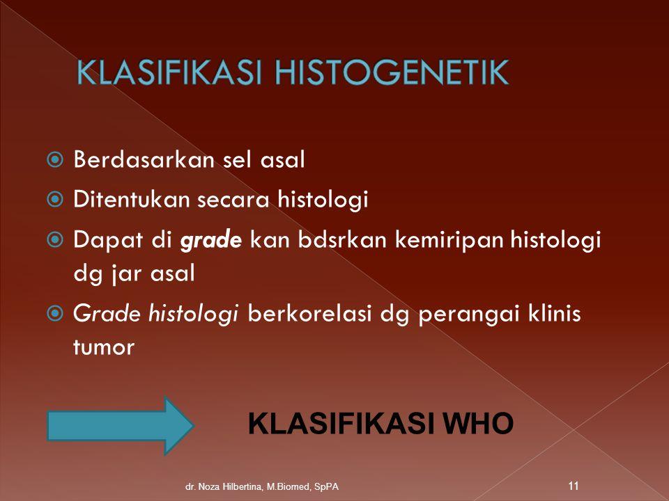  Berdasarkan sel asal  Ditentukan secara histologi  Dapat di grade kan bdsrkan kemiripan histologi dg jar asal  Grade histologi berkorelasi dg per