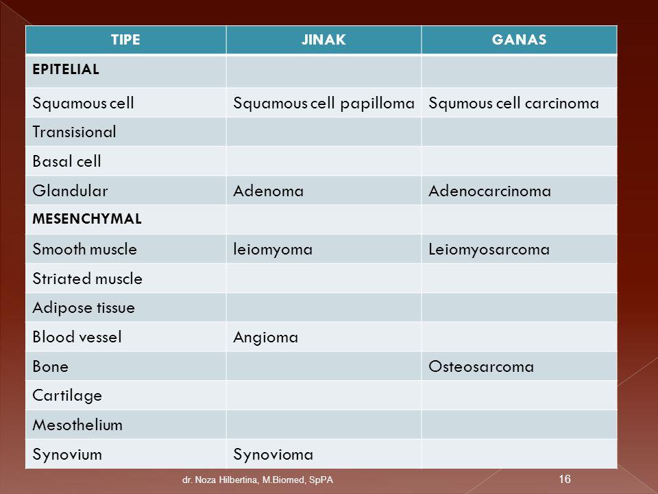 TIPEJINAKGANAS EPITELIAL Squamous cellSquamous cell papillomaSqumous cell carcinoma Transisional Basal cell GlandularAdenomaAdenocarcinoma MESENCHYMAL
