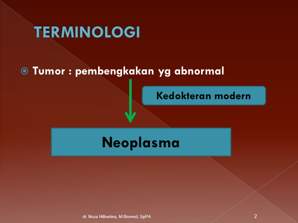  Tumor : pembengkakan yg abnormal Kedokteran modern Neoplasma 2 dr. Noza Hilbertina, M.Biomed, SpPA